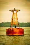 Metal buoy on the sea Royalty Free Stock Image