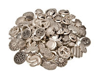 Metal Button. A pile of metal buttons on white isolated background Royalty Free Stock Image