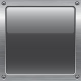 Metal button. Shiny gray button on metal surface Royalty Free Stock Photos