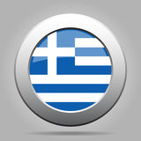 Metal button with flag of Greece Stock Photos