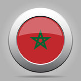 Metal button with flag of Morocco Royalty Free Stock Images