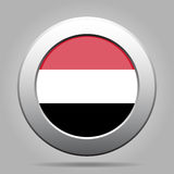 Metal button with flag of Yemen Stock Images