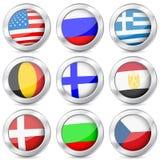 Metal button national flag. National flag button set on a white background Stock Photos