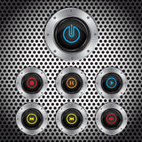 Metal button, switches software controls,  Royalty Free Stock Photography