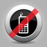 Metal button, white old mobile phone banned icon Royalty Free Stock Photography