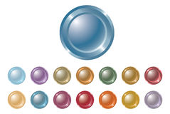 Metal buttons. Set of the multi-coloured round metal buttons Stock Photos