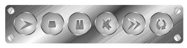 Metal buttons. Metal 3d play music buttons Royalty Free Stock Images