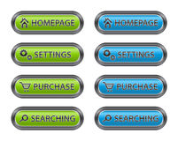 Metal Buttons with Icons for Websites Stock Photos