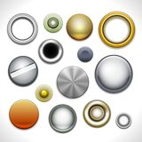 Metal buttons and rivets stock illustration