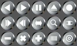 Metal Buttons Set 2. Set of buttons for web design. All buttons are isolated using a clipping path which make it easy to use them on any background color. See Royalty Free Stock Images