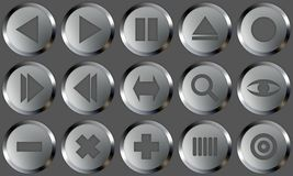 Metal Buttons Set 2. Set of buttons for web design. All buttons are isolated using a clipping path which make it easy to use them on any background color. See Stock Photography