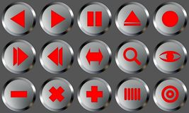 Metal Buttons Set 2. Set of buttons for web design. All buttons are isolated using a clipping path which make it easy to use them on any background color. See stock illustration