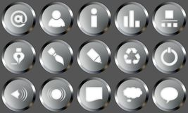 Metal Buttons Set. Set of buttons for web design. All buttons are isolated using a clipping path which make it easy to use them on any background color. See stock illustration