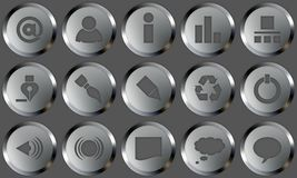 Metal Buttons Set. Set of buttons for web design. All buttons are isolated using a clipping path which make it easy to use them on any background color. See Royalty Free Stock Images