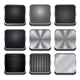 Metal Buttons. Set of dark metal vector buttons stock illustration