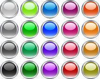 Metal buttons. [Vector]. A lot of metal buttons. Vector illustration