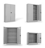 Metal cabinets for documents on a white background. 3D illustration Stock Photography