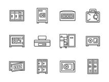 Metal cabinets and safes black line icons Royalty Free Stock Image