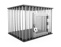 Metal cage. Empty metal cage on white background. 3d render Royalty Free Stock Photo