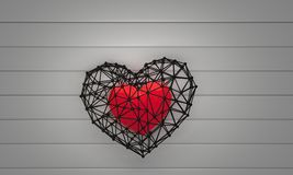 Metal cage with heart inside Stock Photography