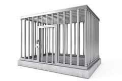 Metal Cage with Lock. On a white background Stock Photography