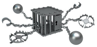 Metal Cage Trap Stock Photo