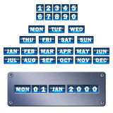 Metal Calendar. Metal effect calendar with glossy icons for day, month and year Royalty Free Stock Photography