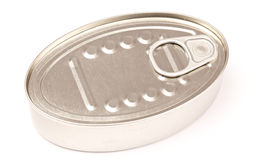 Metal Can. Diagonal view of one closed grey metal can. On white Stock Photos