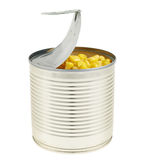 Metal can full of corn kernels isolated Royalty Free Stock Photo