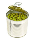 Metal can full of green peas isolated Royalty Free Stock Photo