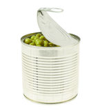 Metal can full of green peas isolated royalty free stock images