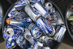 Metal Cans In Bin Royalty Free Stock Image