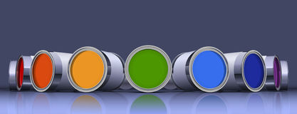 The metal cans with colorful paint Stock Photo