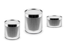 Metal cans of different roominess  isolated on white Stock Images