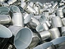 Metal cans for food. Packaging metal cans containers royalty free stock image