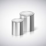 Metal cans with reflection and shadow. Stock Photo