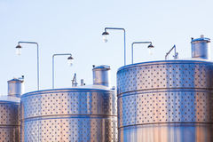 Metal capacity for wine Stock Photos