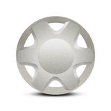 Metal car hubcap or wheel trim. 3d illustration of metal car hubcap or wheel trim cover isolated on white background royalty free stock photo