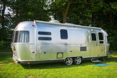 Metal caravan. For holidays on campsite Royalty Free Stock Images