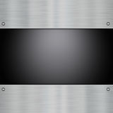 Metal on carbon fibre. Shiny metal plates on a carbon fibre background stock illustration