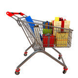 Metal cart with gifts Royalty Free Stock Photography