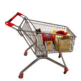 Metal cart with gifts Stock Images