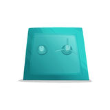 Metal cartoon safe. Illustration of closed safe isolated on a white background.  Stock Photography