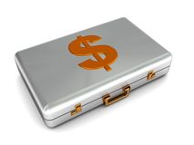 Metal case with dollar symbol Stock Photo