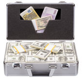 The metal case with dollars and euros Royalty Free Stock Photos