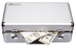 The metal case with dollars and euros Royalty Free Stock Image
