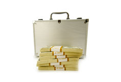 Metal case and lots of dollars Stock Photography