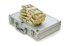 Metal case and lots of dollars Stock Image