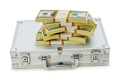 Metal case and lots of dollars Stock Images