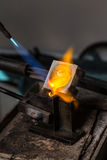 Metal Casting with blowtorch Royalty Free Stock Image